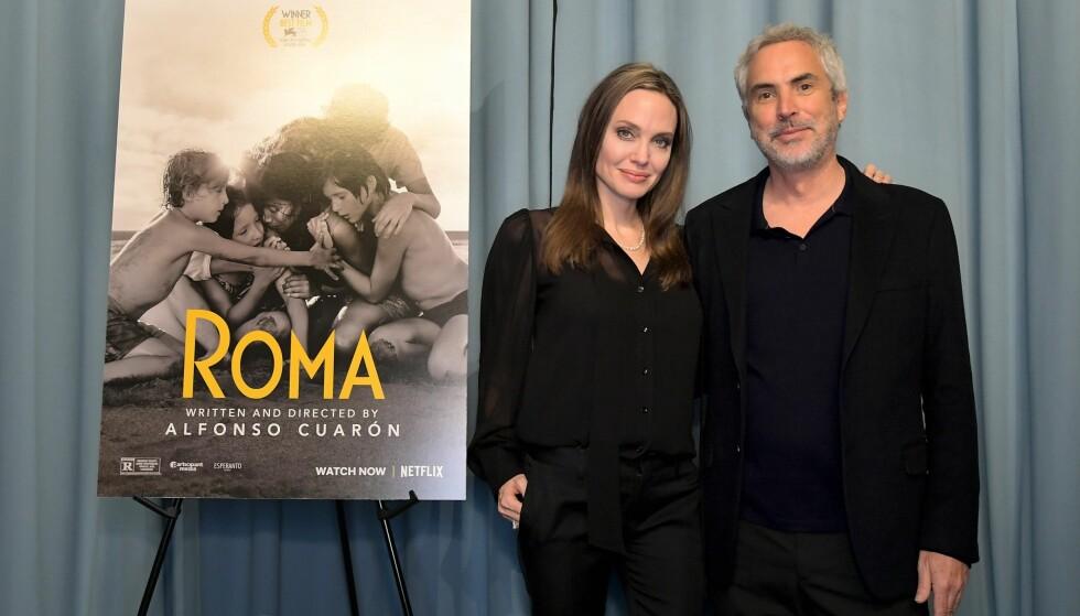 ROMANSERYKTER: Etter at Angelina Jolie og Alfonso Cuarón dukket opp på en privat filmvisning sammen i helgen, har ryktene om en mulig romanse begynt å svirre. Foto: NTB Scanpix