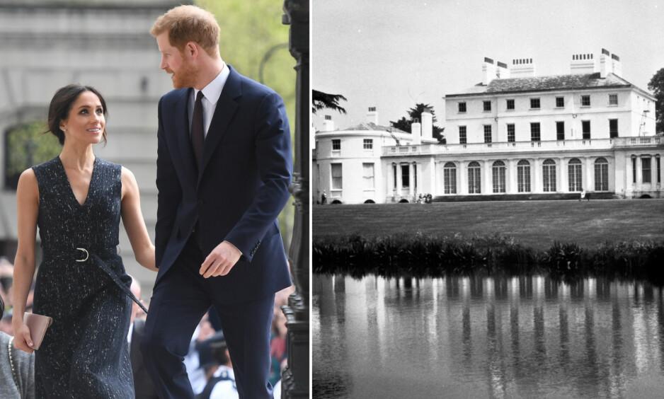 PÅ FLYTTEFOT: Til våren flytter hertuginne Meghan og prins Harry inn på Frogmore Cottage som er et mindre hus beliggende på eiendommen til Frogmore House (avbildet). Men først må huset renoveres. Foto: NTB Scanpix