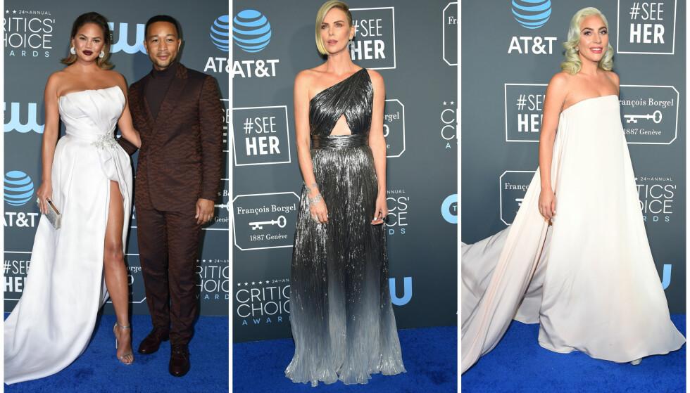 KLARE FOR FEST: Søndag var det duket for Critics' Choice Awards i California. En rekke stjerner, deriblant Chrissy Teigen, John Legend, Charlize Theron og Lady Gaga deltok på prisutdelingen. Foto: NTB Scanpix