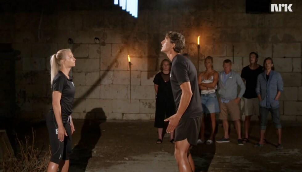 <strong>KOM TIL KORT:</strong> Kine Olsen Vedelden besluttet å ta med seg Lars Berger i nattest. Der stakk sistnevnte av med seieren. Foto: NRK / Skjermdump