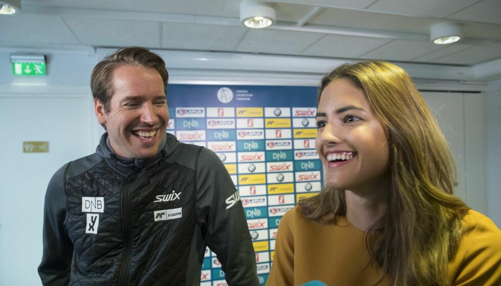 STØTTESPILLER: Samantha Skogrand var til stede da kjæresten kunngjorde at han ville legge skiskytter-karrieren på hylla. Foto: Vidar Ruud / NTB Scanpix