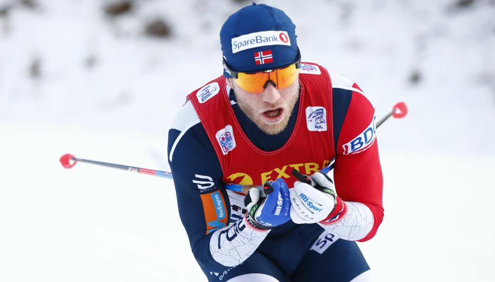 SERIØS: Martin er kjent for å ta idretten sin på største alvor. Her gir han alt for Norge under Tour de Ski, som han har vunnet to ganger, tidligere i vinter. Foto: NTB Scanpix
