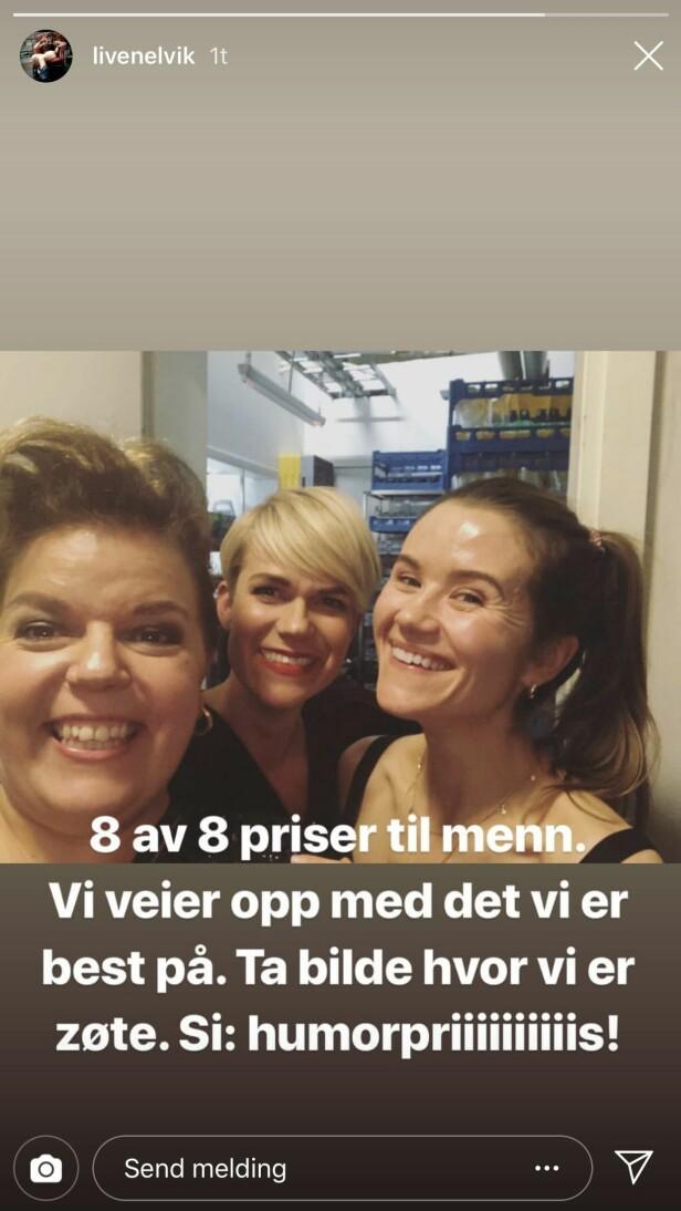 INSTAGRAM: Live Nelvik poengterte også den skjeve kjønnsfordelingen under prisutdelingen i sosiale medier. Her sammen med Else Kåss Furuseth og Sigrid Bonde Tusvik. Foto: Skjermdump, Instagram
