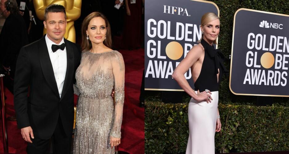 <strong>ERKEFIENDER?:</strong> Ryktene svirrer om at Brad Pitt (55) har funnet lykken med ekskona Angelina Jolie (43) sin påståtte erkerival, Charlize Theron (43). Foto: NTB Scanpix