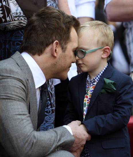 SUKSESS: Pratt har sønnen Jack sammen med ekskona Anna Faris, og han har tidligere uttalt at sønnen er det beste som har skjedd han. Foto: NTB Scanpix