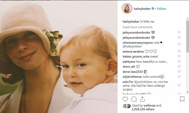 RYKTEFLOM: Fansen reagerte da Hailey delte dette barndomsbildet på Instagram. Foto: Skjermdump