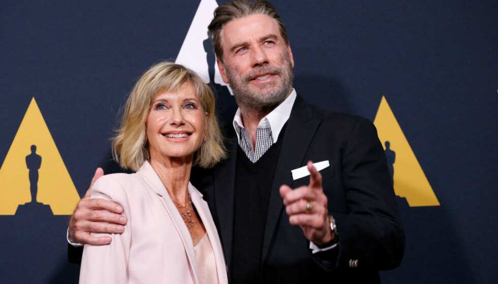 «WE GO TOGETHER»: Olivia Newton-John (70) og John Travolta (64) kom sammen til gjenforeningsfesten. Foto: Reuters / NTB Scanpix