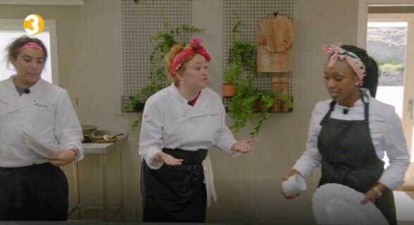 <strong>KRANGLER:</strong> Det gikk hardt for seg på kjøkkenet mellom Trine Lise og Stella. Også Erlend Elias lot seg irritere. Foto: TV3
