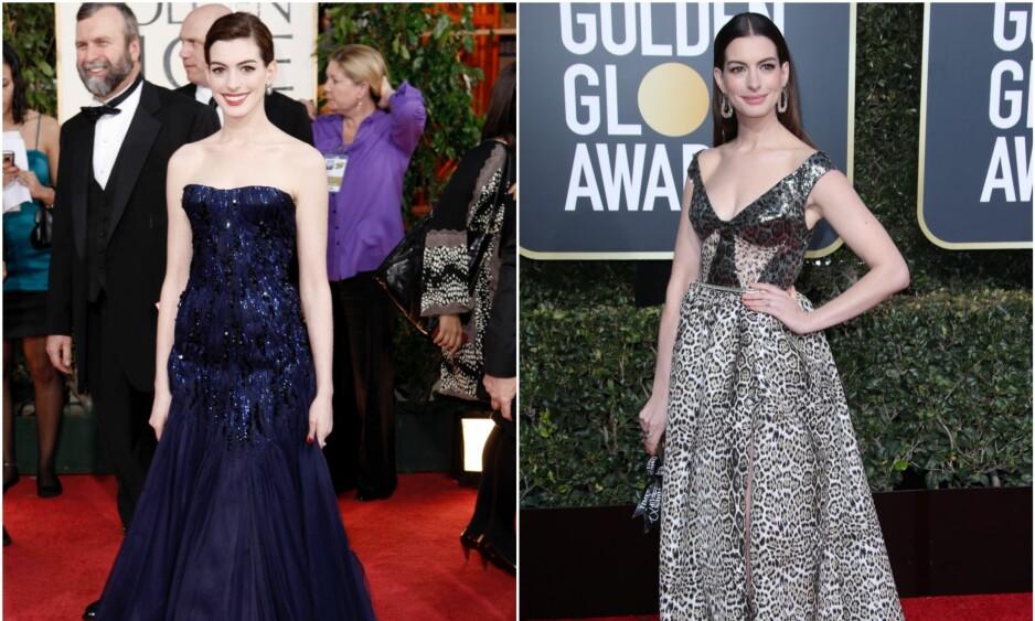 FØR OG NÅ: Disse bildene av Anne Hathaway er tatt med ti års mellomrom - begge under Golden Globe Awards. F.v: Anne i 2009 og bildet til høyre er tatt i januar i år. Selv hevder hun at hun følte seg svært utilpass under prisutdelingen for ti år siden. Foto: NTB Scanpix