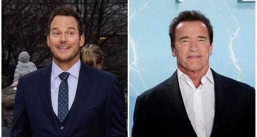 NY SVIGERFAR: Chris Pratt tok det tradisjonelle valget - og spurte Arnold Schwarzenegger om lov til å gifte seg med datteren hans. De to skal allerede ha funnet tonen. Foto: NTB Scanpix