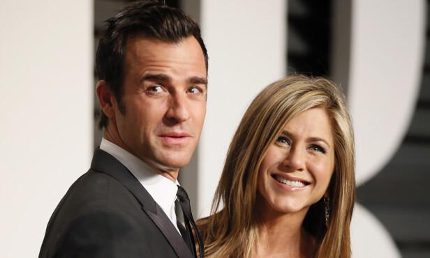 GODE VENNER: Da det ble kjent at Aniston skulle skille seg fra Justin Theroux, uttalte paret at de skiltes som gode venner, og at de fortsatt har respekt og kjærlighet for hverandre. Foto: NTB Scanpix