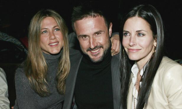 GODE VENNER: Aniston og Courteney har forblitt gode venner på privaten, her er de sammen med eksmannen til Courteney, David Arquette. Foto: NTB Scanpix
