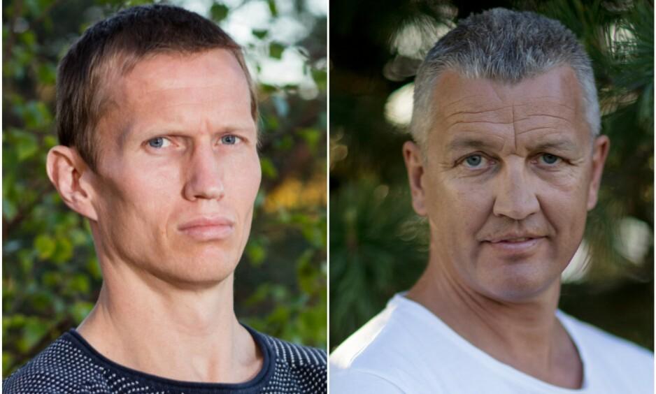 <strong>KRANGLEFANTER:</strong> Frank Løke (39) og Ole «Lukkøye» Klemetsen (47) havnet på krigsstien etter at sistnevnte ble stemplet som «en sutrekopp». Foto: Alex Iversen / TV 2