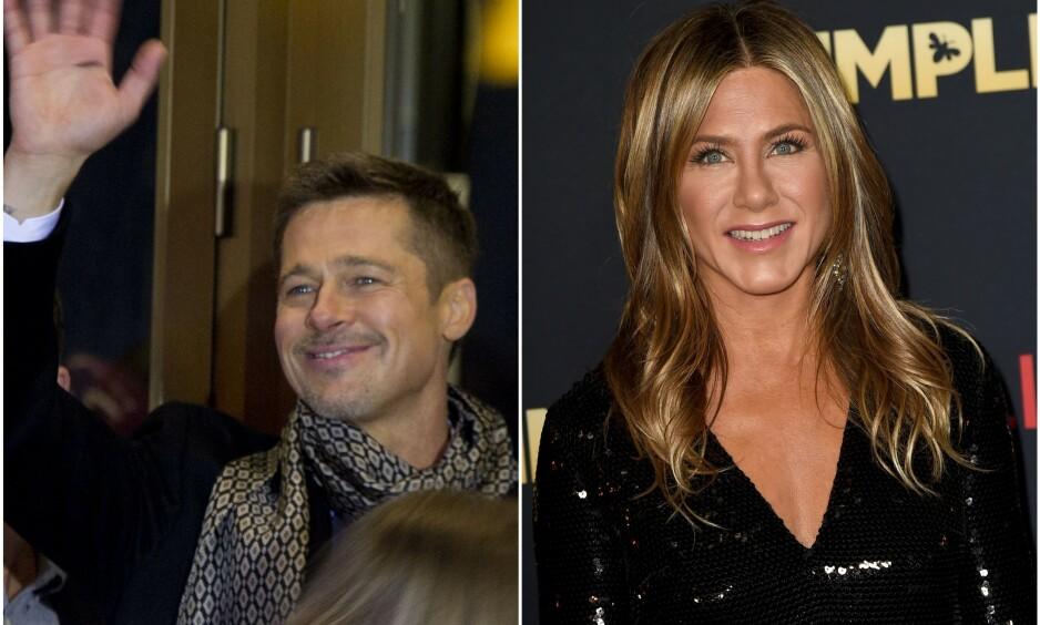 GJENFORENT: Hollywood-stjernen Brad Pitt (55) var blant de oppmøtte i Jennifer Anistons 50-årsfeiring lørdag kveld. Slik blir det overskrifter av. Disse bildene er fra en annen anledning. Foto: NTB Scanpix