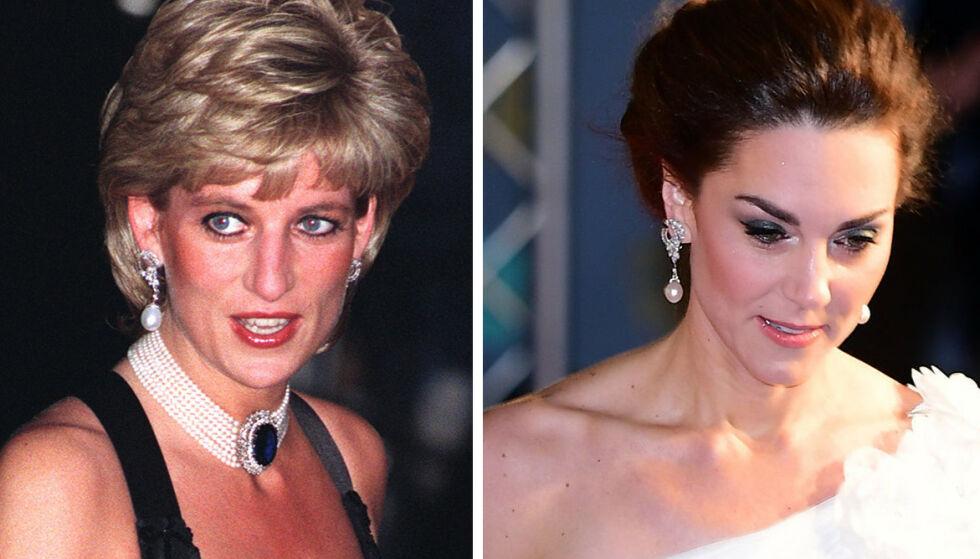 HYLLEST TIL AVDØD SVIGERMOR: Her er prinsesse Diana avbildet i 1995 med de samme øredobbene som hertuginne Kate hadde på seg under søndagens BAFTA-show. Foto: NTB Scanpix
