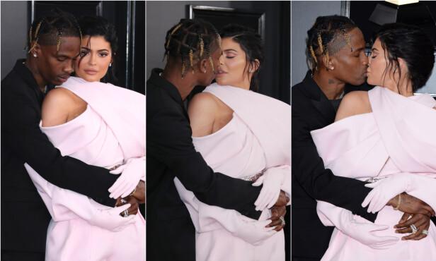 <strong>FORELSKET:</strong> Det unge paret var ikke redd for å vise hete følelser offentlig på den røde løperen i forkant av årets Grammy-utdeling. Foto: NTB Scanpix