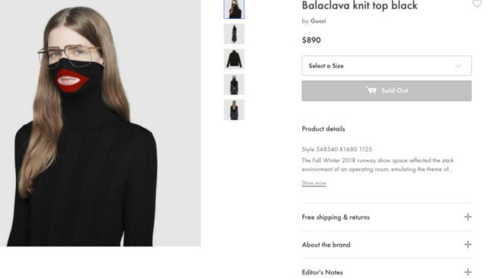 <strong>TRUKKET FRA BUTIKKENE:</strong> Motehuset Gucci har sett seg nødt til å trekke denne genseren fra markedet etter anklager om at den er rasistisk. Her ser man genseren på butikkens nettside. Foto: NTB Scanpix