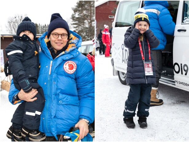 GODT KLEDD: Pappa Daniel med lille prins Oscar på armen, og prinsesse Estelle stilte smilende opp for fotografen. Foto: Andreas Fadum/Se og Hør
