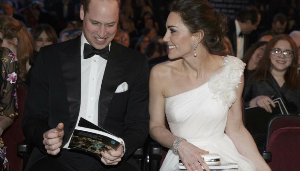 <strong>PÅ RØD LØPER:</strong> Prins William og hertuginne deltok på årets BAFTA 10. februar i år. Foto: NTB Scanpix