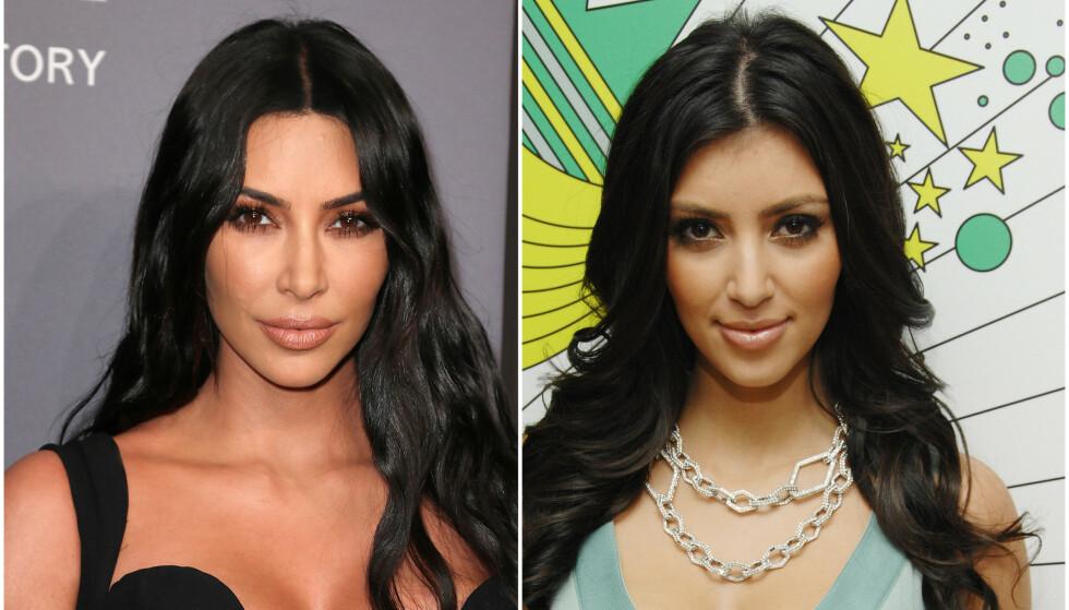 OPERERT?: Flere hevder at Kim Kardashian skal ha operert nesa. Selv hevder hun at det bare er sminke. Bilde til venstre er fra 2018 og bilde til høyre er fra 2007. Foto: NTB Scanpix