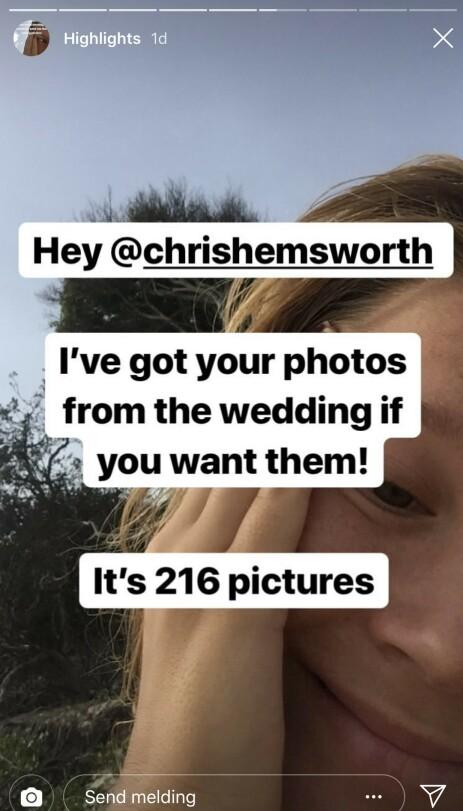 <strong>UTROLIG:</strong> Elvira skjønte ingenting da hun fant ut at det var de private bildene til Liam Hemsworth hun hadde fått tilsendt. Foto: skjermdump fra Instagram.
