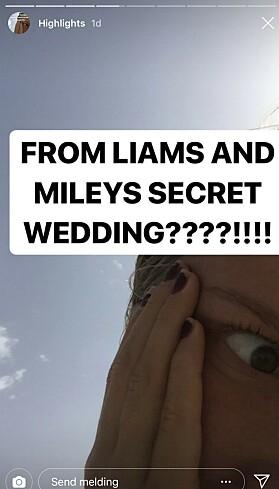<strong>BRYLLUPSBILDER:</strong> Filene inneholdt også bilder av den private bryllupsseremonien til Liam Hemsworth og Miley Cyrus. Foto: skjermdump fra Instagram