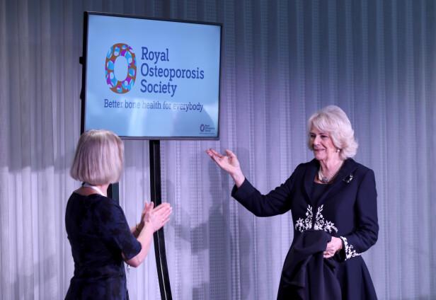 HOLDT TALE: Hertuginne Camilla er president for organisasjonen Royal Osteoporosis Society, her avbildet under den offisielle lanseringen av organisasjonen nylig. Foto: NTB scanpix