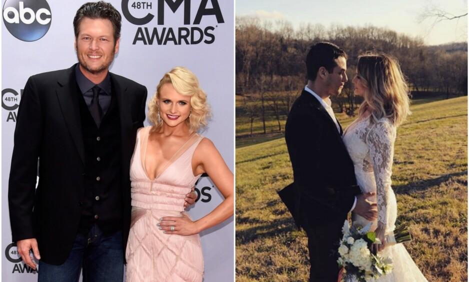 FRA BRUDD TIL BRYLLUP: I fire år var Miranda Lambert gift med country-stjernen Blake Shelton. Etter det vonde bruddet har hun funnet lykken igjen med den åtte år yngre politimannen Brendan McLoughlin. Foto: NTB Scanpix/Instagram