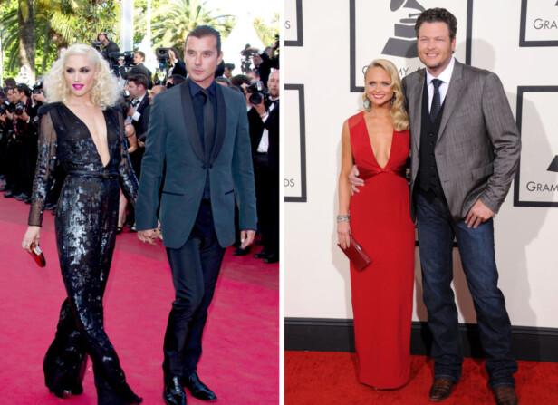 BRUDD PÅ HVER SIN KANT: I løpet av sommeren 2015 ble det slutt mellom både Gwen Stefani og Gavin Rossdale, og Miranda Lambert og Blake Shelton. Foto: NTB Scanpix