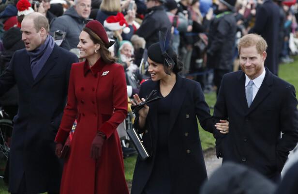 SAMLET: Det har lenge vært spekulasjoner rundt om hertugparene egentlig kommer overens med hverandre. Her fra julefeiringen i Sandringham. Foto: NTB scanpix