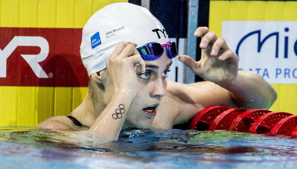 SVØMMER: Danske Sarah Bro er profesjonell svømmer og har blant annet deltatt i OL. Her avbildet ved en annen anledning. Foto: NTB Scanpix