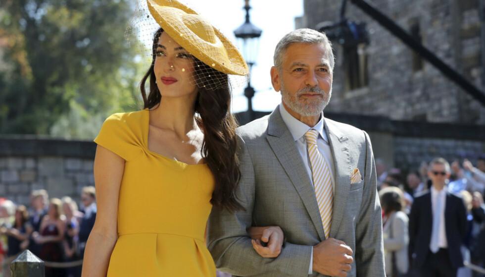 GODE VENNER: Amal og George Clooney er nære venner av hertugparet, og var derfor selvskrevne gjester i bryllupet deres. FOTO: AP / NTB scanpix