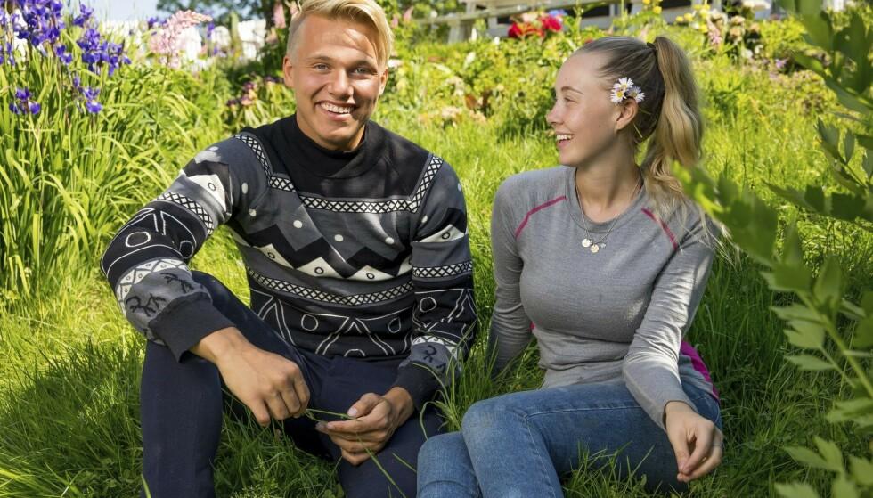 <strong>NÆRE VENNER:</strong> De tidligere «Paradise Hotel»-deltakerne Erik Sæter og Martine Lunde fant raskt tonen på «Farmen kjendis». Ryktene ville ha det til at de hadde en affære, noe de begge benekter på det sterkeste. Foto: TV 2