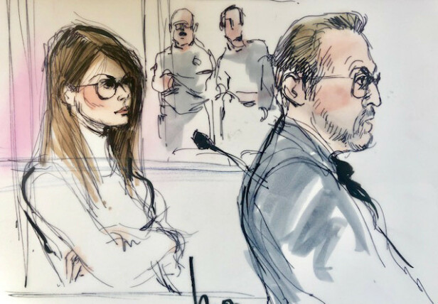 MØTTE I RETTEN: Lori Loughlin foreviget av en rettstegner under høringen i Los Angeles onsdag. Foto: NTB Scanpix