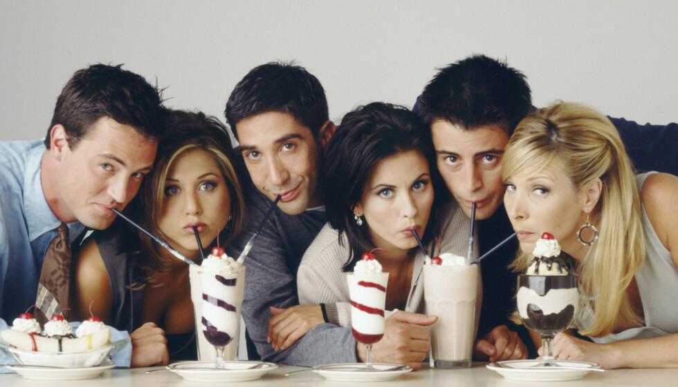 «FRIENDS»-GJENGEN: David Schwimmer, Jennifer Aniston, Courteney Cox, Matthew Perry, Matt LeBlanc og Lisa Kudrow ble verdens best betalte tv-fjes i løpet av 90- og tidlig 2000-tallet. Foto: NTB Scanpix