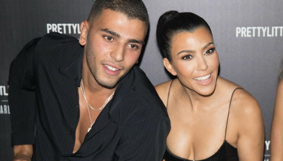 TOK SLUTT: Etter om lag to år som kjærester tok forholdet mellom Younes Bendjima og Kourtney Kardashian slutt i fjor. Foto: NTB Scanpix