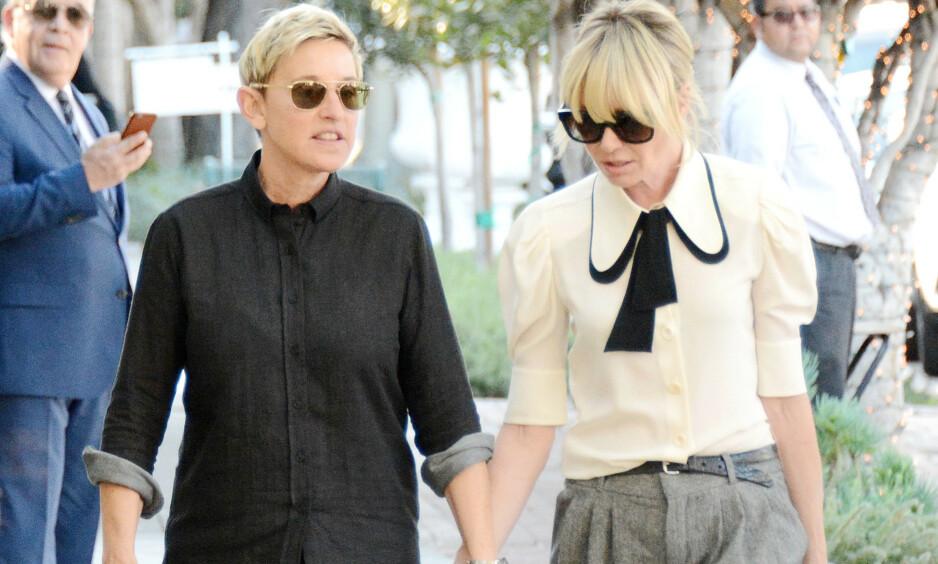 NYE SPEKULASJONER: Ekteparet Ellen DeGeneres og Portia De Rossi har i flere år blitt utsatt for skilsmisserykter. Nå har det igjen blusset opp rykter om at paret har problemer i ekteskapet. Foto: NTB scanpix