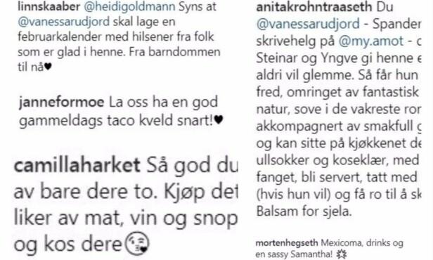 MASSIV STØTTE: Vanessa Rudjord mottok flere tips fra både kjendiser, familie og venner, til hva hun kunne gjøre for venninnen sin Synnøve Skarbø som går gjennom et samlivsbrudd. Foto: Skjermdump, Instagram