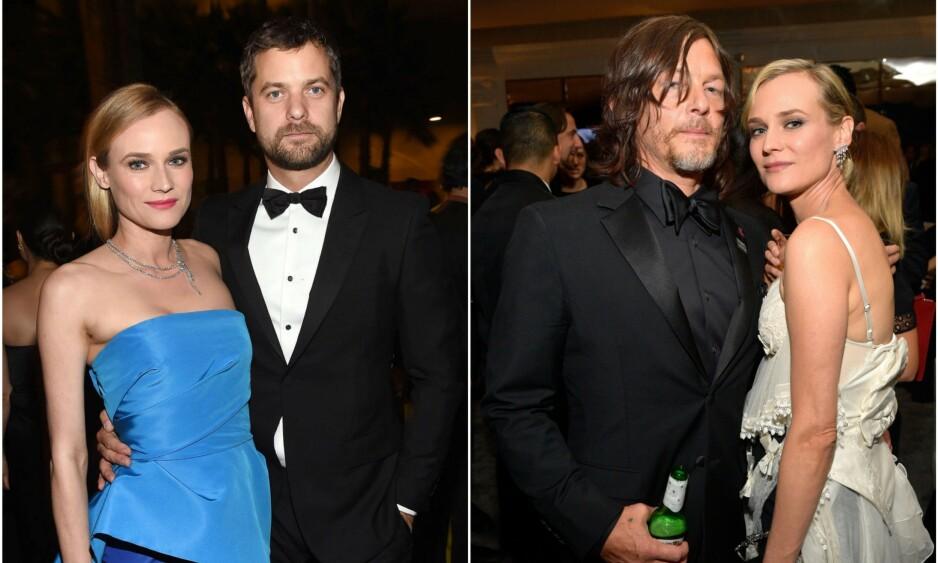LYKKELIG IGJEN: I ti år var Kruger kjæreste med skuespiller-kollega Joshua Jackson (t.v). I dag er hun sammen med «The Walking Dead»-stjernen Norman Reedus. Foto: NTB Scanpix
