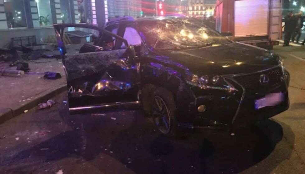 <strong>SEKS DREPT:</strong> Denne bilen kjørte inn i en folkemendge i Ukraina i 2017. Seks personer mistet livet, og ytterligere seks ble skadd. Foto: Det nasjonale politiet i Ukraina.