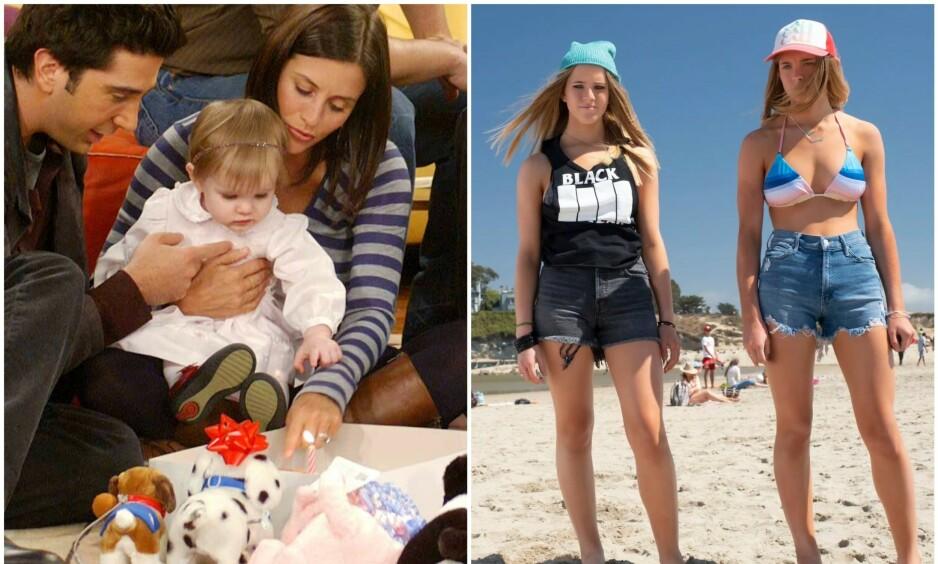 ER BLITT VOKSNE: Tvillingsøstrene Cali og Noelle Sheldon delte på å spille rollen som Emma , datteren til Ross og Rachel i sesong ni og ti av «Friends». Nå gjør de sin debut som skrekkfilm-skuespillere. Foto: Discovery/ NTB scanpix