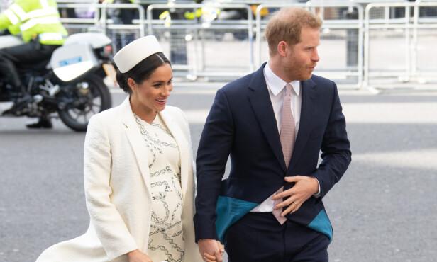 GRAVID: Hertuginne Meghan og prins Harry venter sitt første barn i slutten av april. Foto: NTB Scanpix