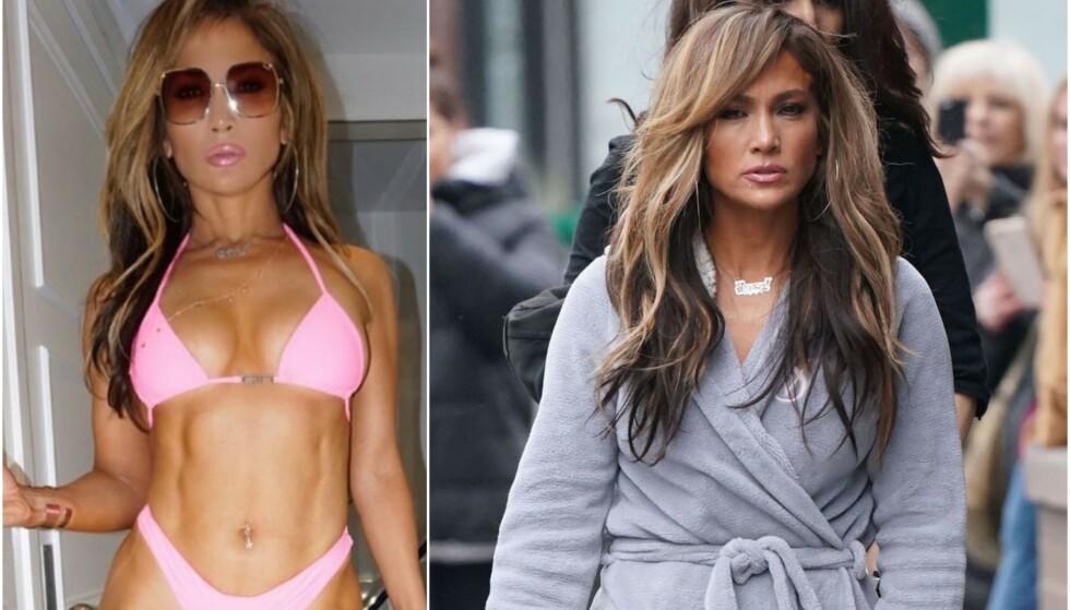 FANSEN REAGERER: Et bilde som Jennifer Lopez nylig delte på Instagram, gjør at fansen mistenker henne for bilderedigering. Foto: Skjermdump Instagram/NTB Scanpix