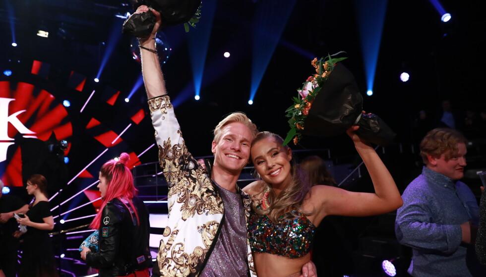 TREDJEPLASS: Fredric Brunberg og Martine Lunde kom helt til semifinalen i «Skal vi danse» i høst. Foto: TV 2 / NTB Scanpix
