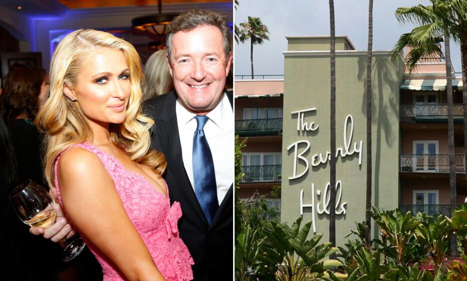 OPPFORDRER TIL HOTELL-SEX: Piers Morgan er ikke enig i kampanjen om å boikotte Brunei-hotellene. Han har et annet forslag. Her sammen med Paris Hilton i 2014. Foto: NTB Scanpix