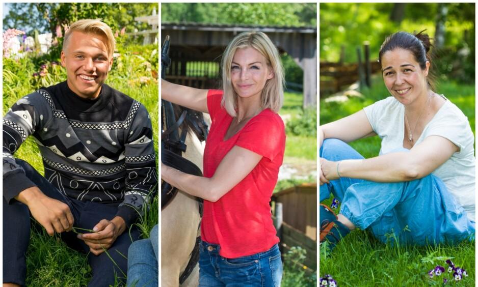 HEKTISKE LIV: Erik Anders Sæter, Kathrine Sørland og Mina Hadjian er blant de som letter på sløret om tida etter «Farmen kjendis». Foto: TV 2 / Morten Eik