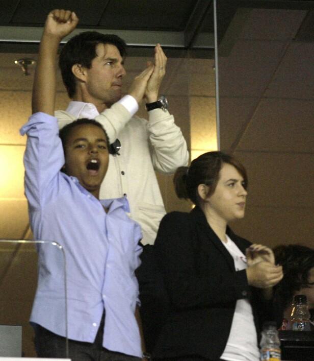 2008: Isabella Jane og Connor følger i pappa Tom Cruise sine fotspor og er både promotører og aktive scientologer. Foto: NTB scanpix