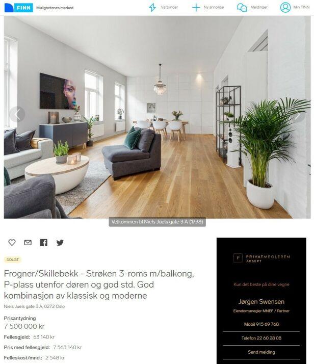 GOD TUMLEPLASS: Kurts nye treroms leilighet er utstyrt med enstavs eikeparkett, moderne løsninger og eldre sjarm. Faksimile fra Finn.no / Privatmegleren
