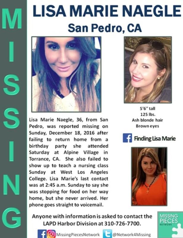 <strong>MELDT SAVNET:</strong> Da Lisa Marie Naegle fra San Pedro ikke kom hjem til avtalt tid, meldte familie og ektemann henne savnet. Foto: Missing Pieces Network