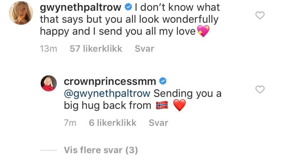 <strong>KOS:</strong> Gwyneth og Mette-Marit har en hyggelig tone i kommentarfeltet under kronprinsessens bilde. Foto: Skjermdump